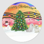 Christmas Music 2 - Maltese (two) Classic Round Sticker