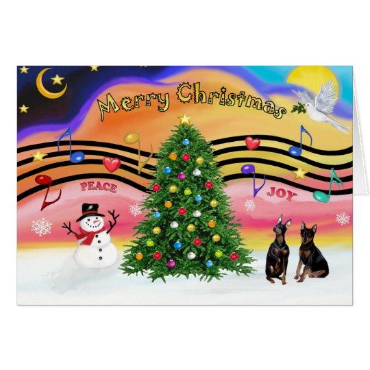 Christmas Music 2 - Miniature Pinschers (two) Card