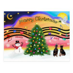 Christmas Music 2 - Miniature Pinschers (two) Post Cards