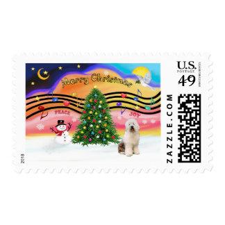 Christmas Music 2 - Old English Sheepdog 3 Postage Stamp