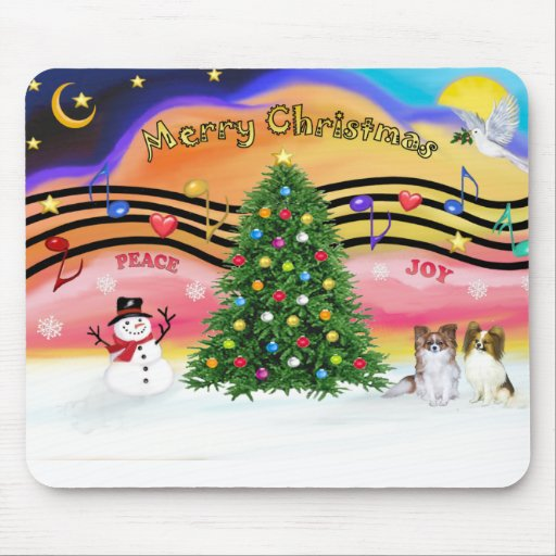 Christmas Music 2 - Papillons (2-Sable-fawn) Mouse Pad