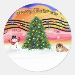 Christmas Music 2 - Pekingese (red) Classic Round Sticker