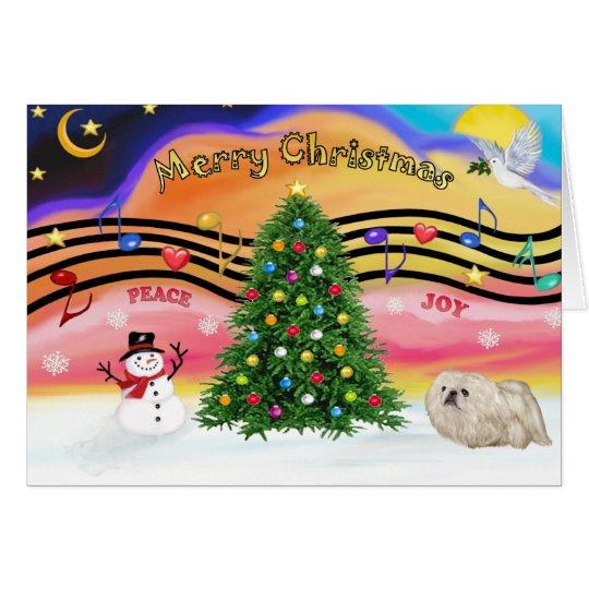 Christmas Music 2 - Pekingese (white) Card