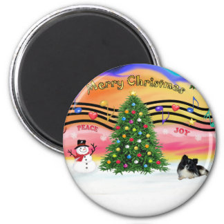 Christmas Music 2 - Pomeranian (bi-black) Magnet