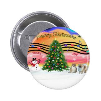 Christmas Music 2 - Pomeranians (three) Pinback Button