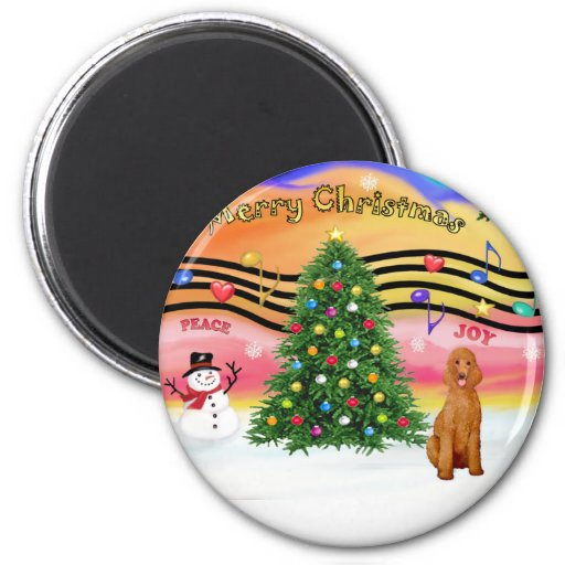Christmas Music 2 - Poodle (apricot Standard) Fridge Magnets