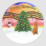 Christmas Music 2 - Poodle (apricot Standard) Round Stickers