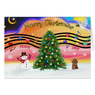 Christmas Music 2 - Poodle (Apricot Toy) Card