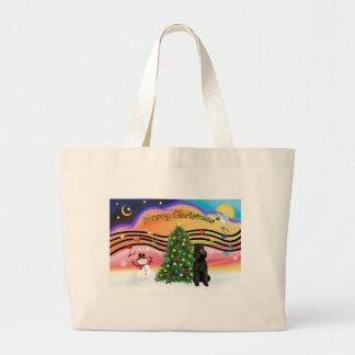 Christmas Music 2-Poodle-Black Standard Large Tote Bag