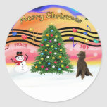 Christmas Music 2 - Poodle (Chocolate Standard) Classic Round Sticker