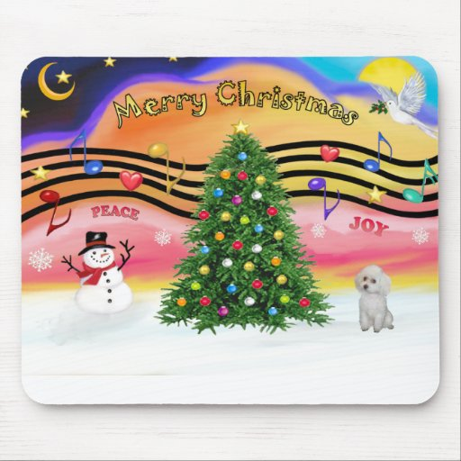 Christmas Music 2 - Poodle (white Toy) Mouse Pad