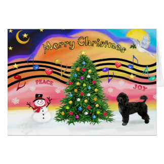 Christmas Music 2 - Portuguese Water Dog 2 Greeting Card
