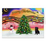 Christmas Music 2 - Pug (black) Greeting Cards