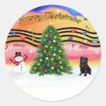 Christmas Music 2 - Pug (black) Round Sticker