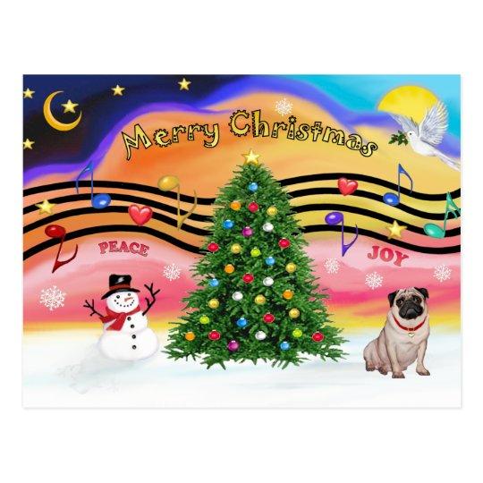 Christmas Music 2 - Pug (fawn) Postcard