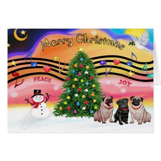 Christmas Music 2 - Pugs (three-2F-1B) Card