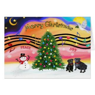 Christmas Music 2 - Pugs (two black) Card