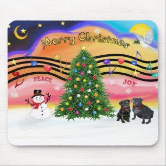 Christmas Music 2 - Pugs (two black) Mouse Pad
