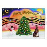 Christmas Music 2 - Red Doberman Greeting Card