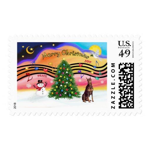 Christmas Music 2 - Red Doberman Postage Stamps