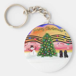 Christmas Music 2 - Schipperke (two) Keychain