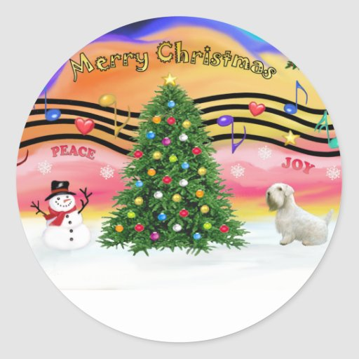 Christmas Music 2 - Sealyham Terrier Round Sticker
