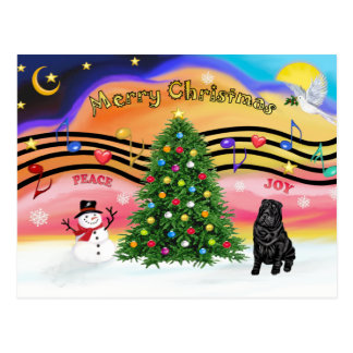 Christmas Music 2 - SharPei 6 (black) Postcard