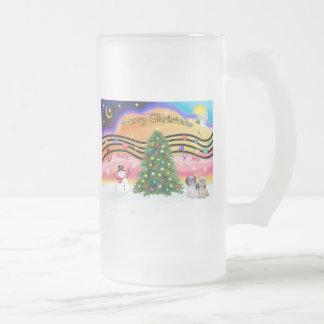 Christmas Music 2 - Shih Tzu (Pair 2) Frosted Glass Beer Mug