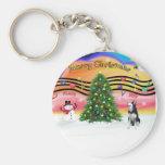 Christmas Music 2 - Siberian Husky Keychain