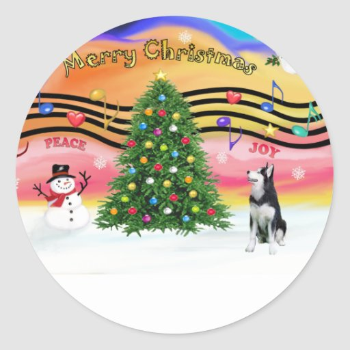 Christmas Music 2 - Siberian Husky Round Stickers