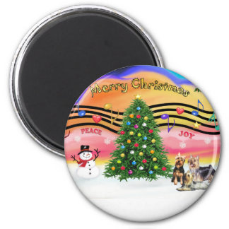 Christmas Music 2 - Silky Terriers (three) Magnet
