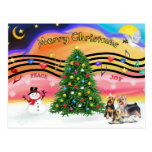 Christmas Music 2 - Silky Terriers (three) Postcards