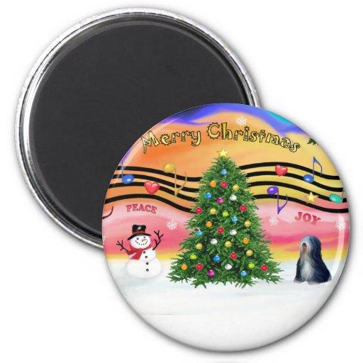 Christmas Music 2 - Tibetan Terrier (BW) Fridge Magnets
