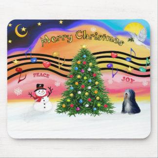 Christmas Music 2 - Tibetan Terrier (BW) Mouse Pad
