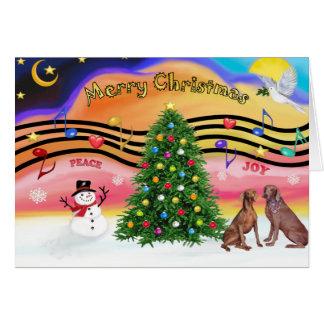 Christmas Music 2 - Weimaraners (two) Card