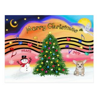 Christmas Music 2 - Welsh Corgi Puppy Postcard