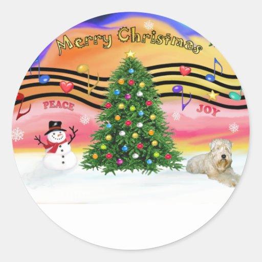 Christmas Music 2 - Wheaten Terrier (ld) Classic Round Sticker