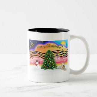 Christmas Music 2 - Wheaten Terrier (ld) Two-Tone Coffee Mug