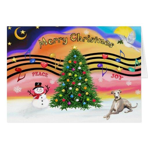 Christmas Music 2 - Whippet (Ld) Greeting Card