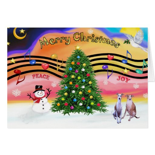 Christmas Music 2 - Whippets (two) Greeting Card
