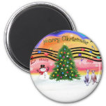 Christmas Music 2 - Whippets (two) Refrigerator Magnet