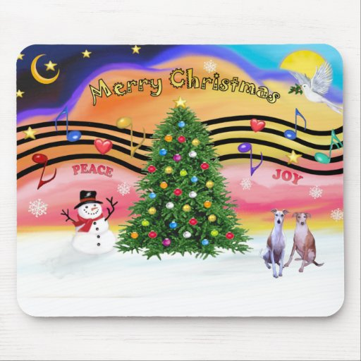 Christmas Music 2 - Whippets (two) Mouse Pad