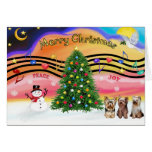 Christmas Music 2 - Yorkshire Terriers (three) Cards