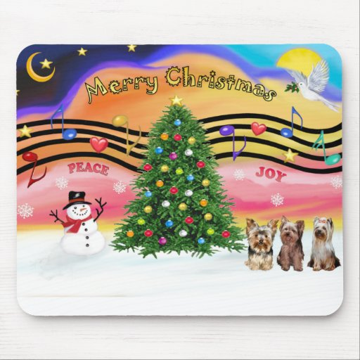 Christmas Music 2 - Yorkshire Terriers (three) Mouse Pads