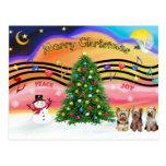 Christmas Music 2 - Yorkshire Terriers (three) Postcard