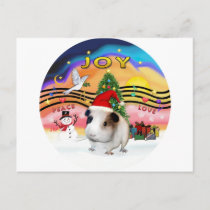 Christmas Music - Guinea Pig1 (hat) Holiday Postcard