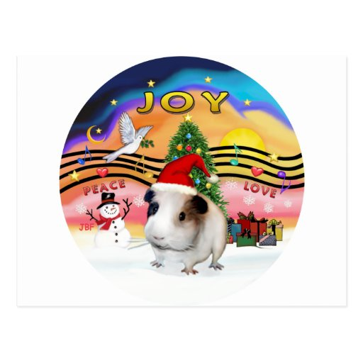 Christmas Music - Guinea Pig1 (hat) Postcard