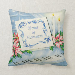 Christmas Music, Poinsettia & Candle Throw Pillow