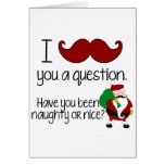 Christmas Mustache Santa Naughty Nice Card