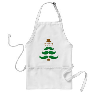 Christmas Mustache Tree Adult Apron